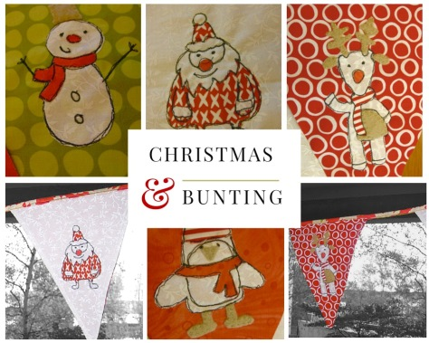 Christmas bunting tutorial - free motion embroidery applique