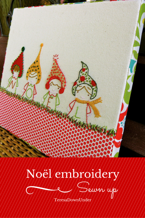 Noel embroidery stretched on canvas - easy sewing project