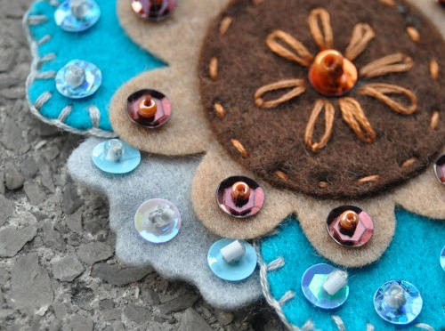 Felt flowers embellished with sequins, beads and embroidery project