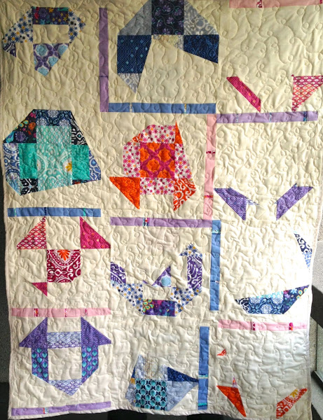 Finishing the semi improv 9-patch quilt