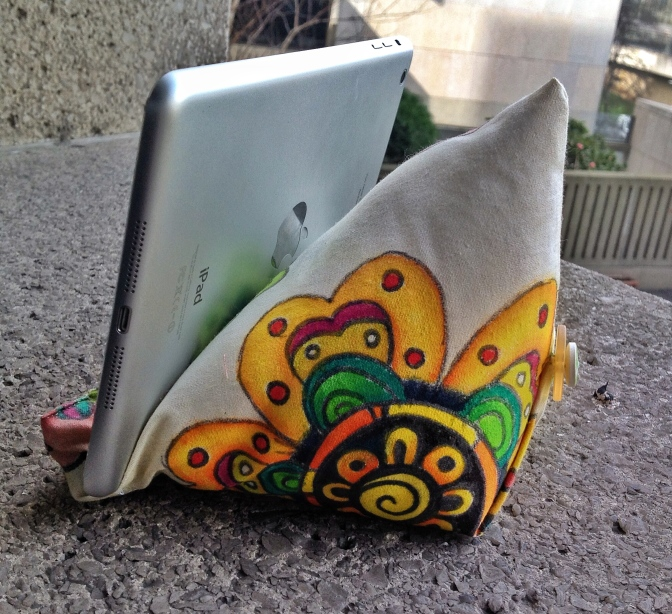 iPad mini beanbag with hand painted fabric tutorial