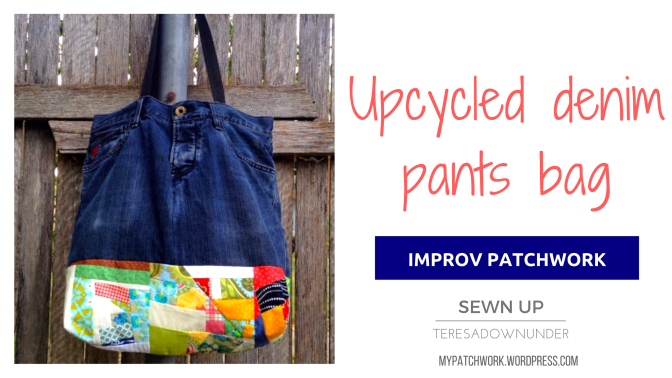 Upycled denim pants with improv patchwork