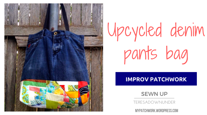 Upcycled denim pants travel bag with improv patchwork