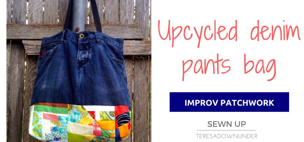 Upycled denim pants with improv patchwork