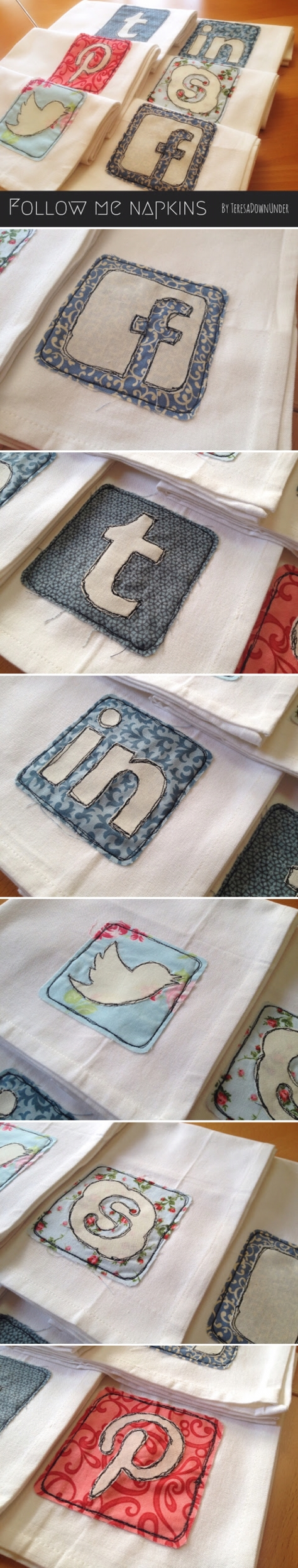 Tutorial and patterns for social media napkins - Follow me napkins