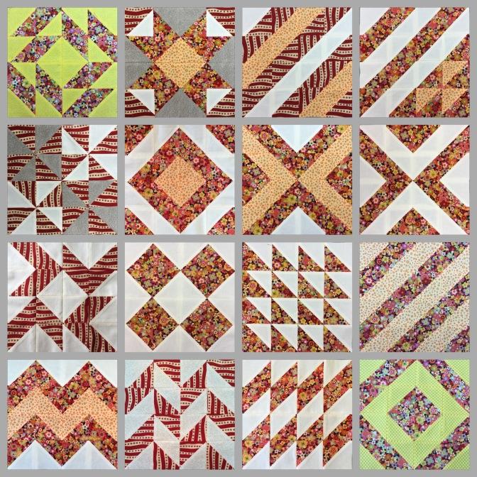 16 half square triangles quilt sampler