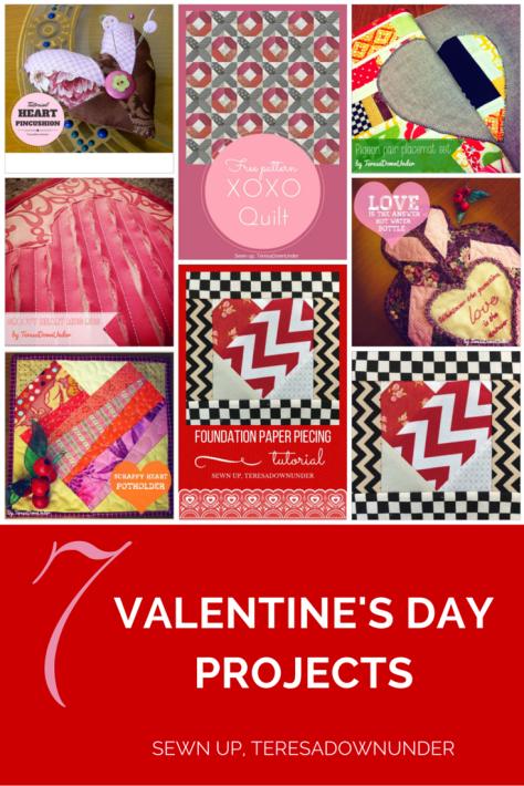 7 Valentine's Day sewing tutorial - patchwork, appliqué, improv patchwork, foundation paper piecing