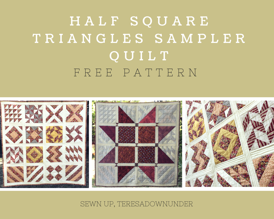 16 Half Square Triangles Hst Sampler Quilt Free Pattern Sewn Up