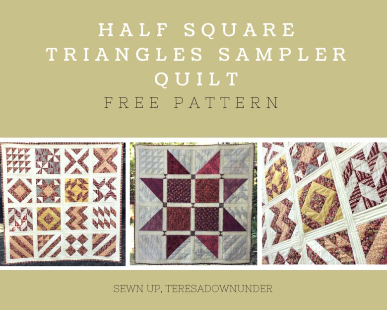 Half square triangles sampler quilt