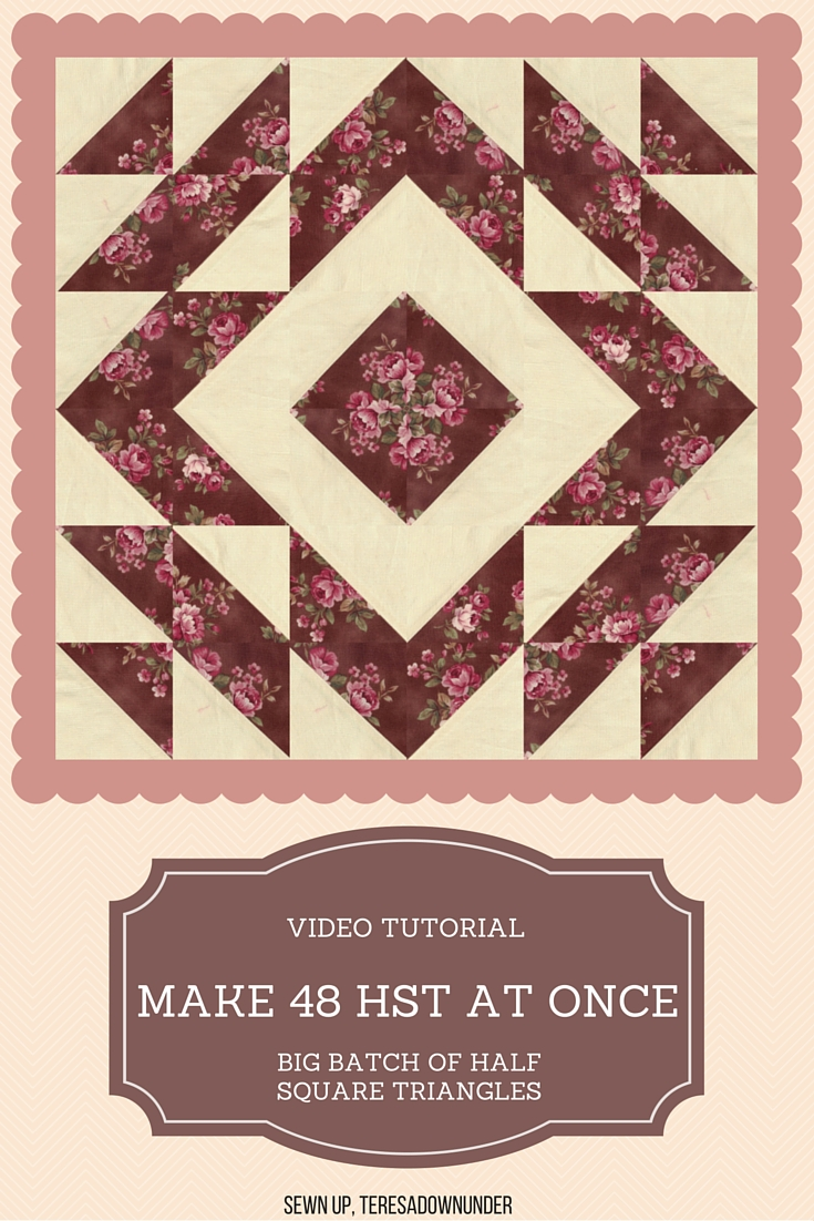 Make 48 half square triangles at once! Step by step video tutorial