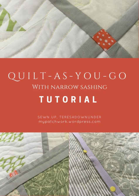 """Quilt-As-You-Go with Narrow Sashing"" Free QAYG Quilt Pattern designed by Teresa Down Under from My Patchwork"