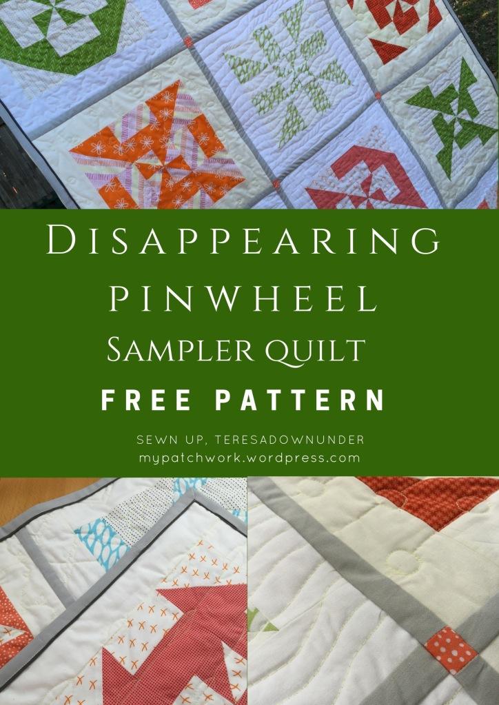 Free pattern: Disappearing pinwheel sampler quilt