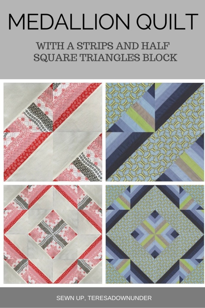 Free pattern: Medallion quilt - with strips and half square triangles block