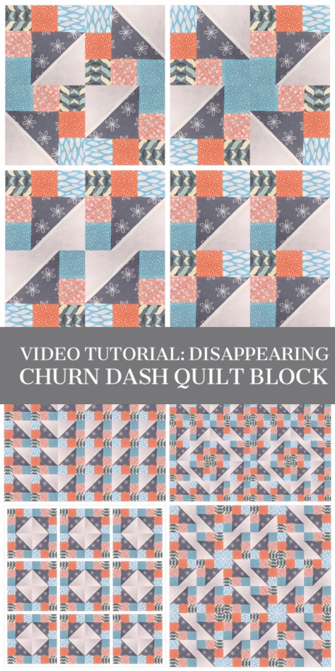 Video tutorial: disappearing churn dash quilt block