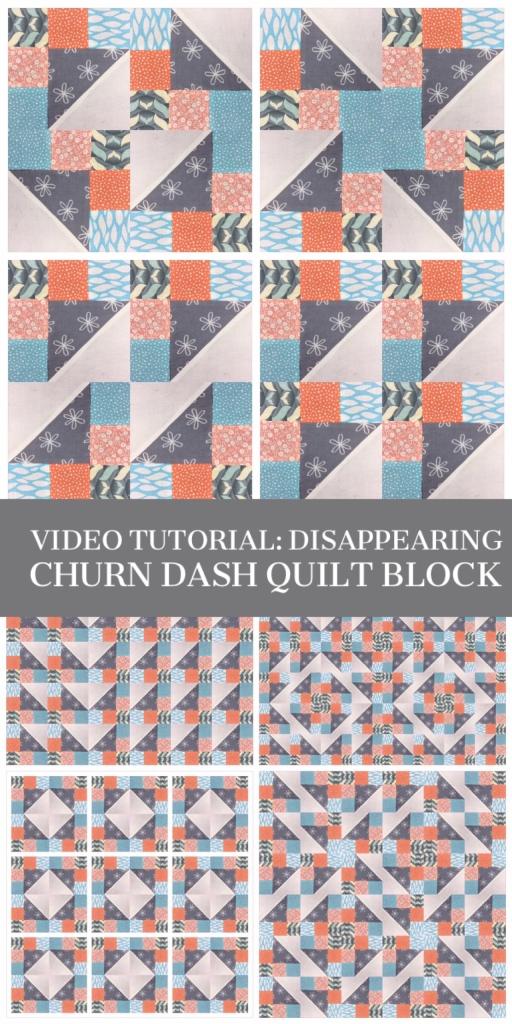 Video tutorial: disappearing churn dash quilt block