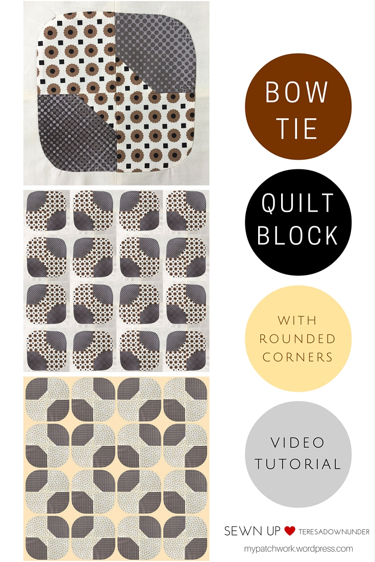 Quick and easy bow tie quilt block with rounded corners | Sewn Up : easy bow tie quilt block pattern - Adamdwight.com
