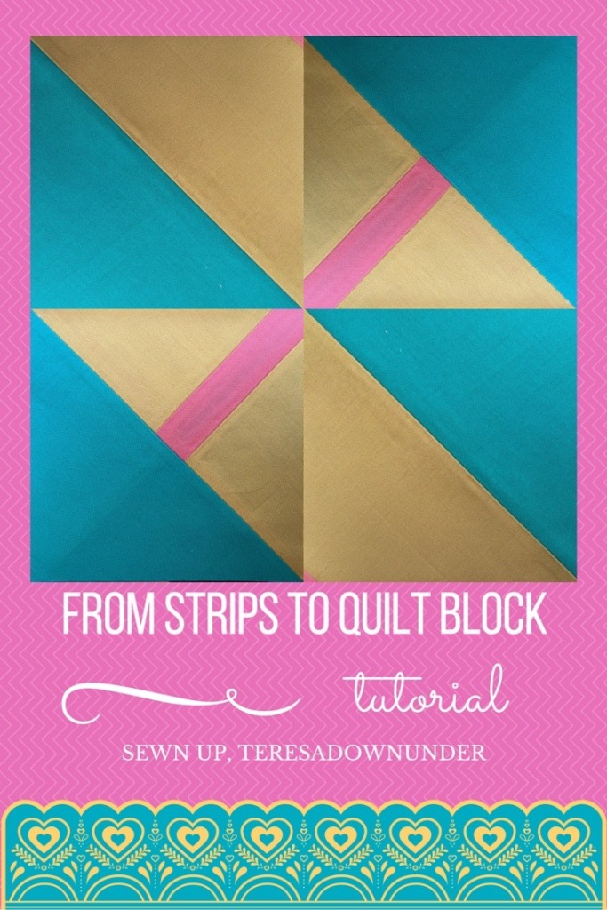 From 3 fabric strips to quilt block - video tutorial