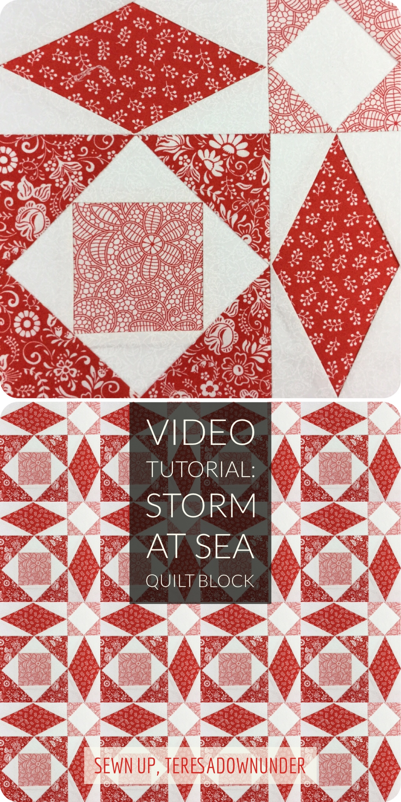 Video tutorial storm at sea quilt block version 1 sewn up for Storm at sea quilt template