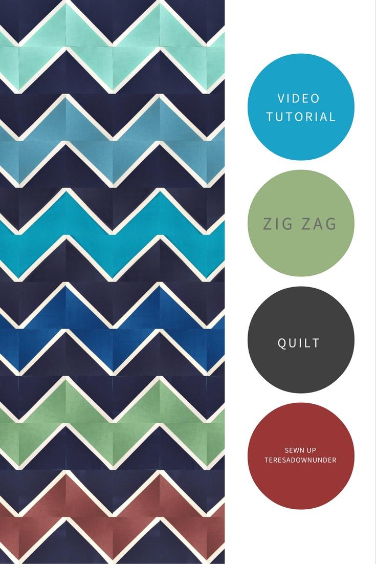 Video Tutorial Zig Zag Half Square Triangles Quilt Block Easy