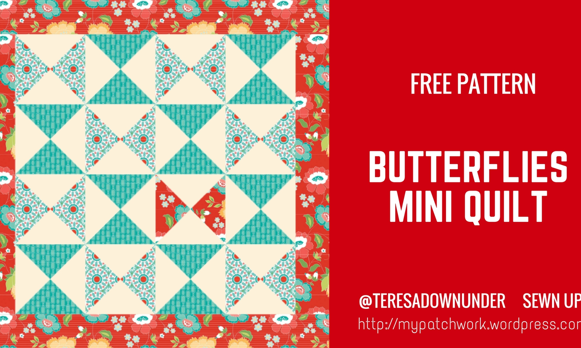 Free pattern: Butterflies mini quilt