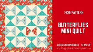 Free pattern: Butterflies mini quilt