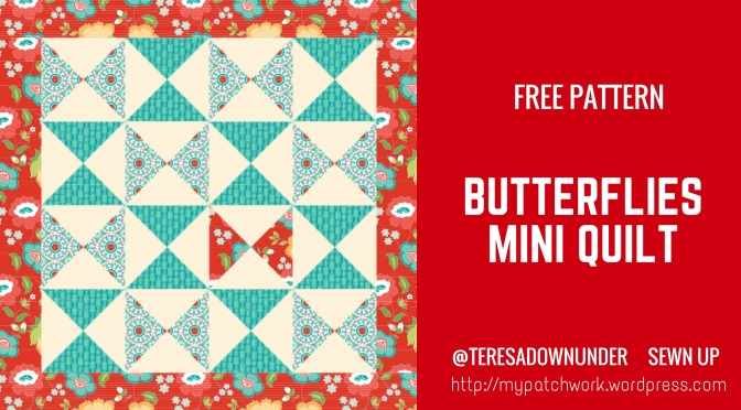 Butterflies mini quilt – free pattern – easy beginner quilt