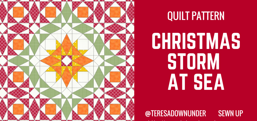 TINY quilt pattern: Christmas storm at sea - templates, fabric needs, instructions