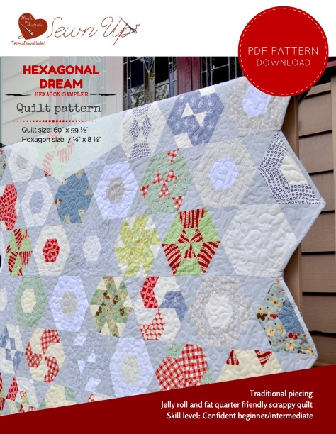 Hexagonal Dream - hexagon sampler quilt pattern - quick and easy quilt pattern without Y seams
