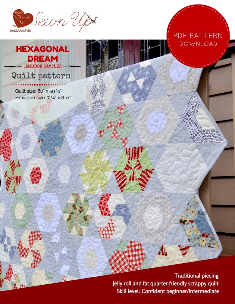 Hexagonal Dream - hexagon sampler quilt pattern - quick and easy quilt pattern