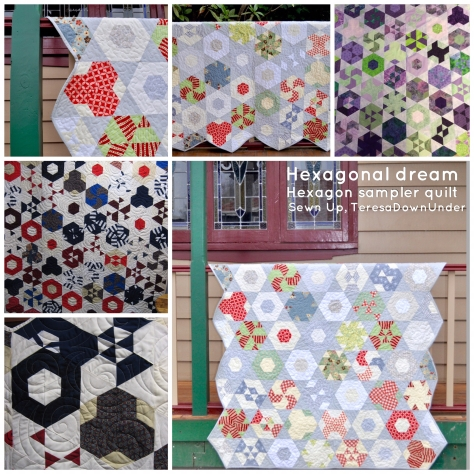 Hexagonal Dream - hexagon sampler quilt pattern - quick and easy quilt pattern