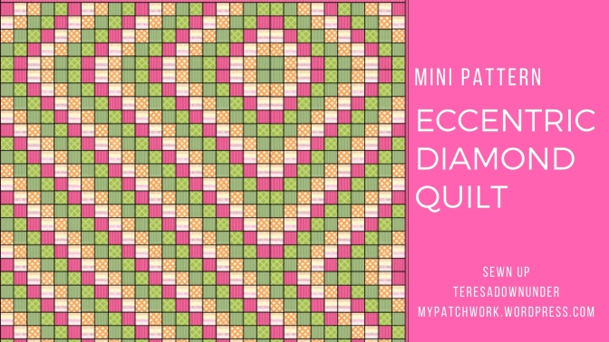 Free mini quilt pattern: Eccentric diamond quilt