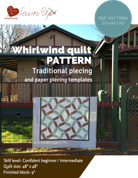 Whirlwind quilt pattern - quick and easy quilting - PDF download