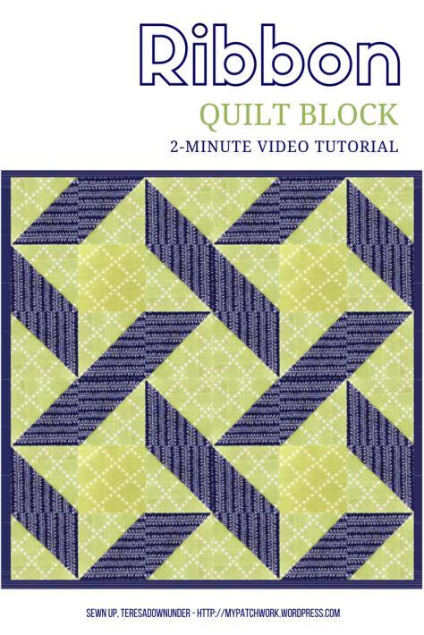 2-minute video tutorial: Ribbon quilt block