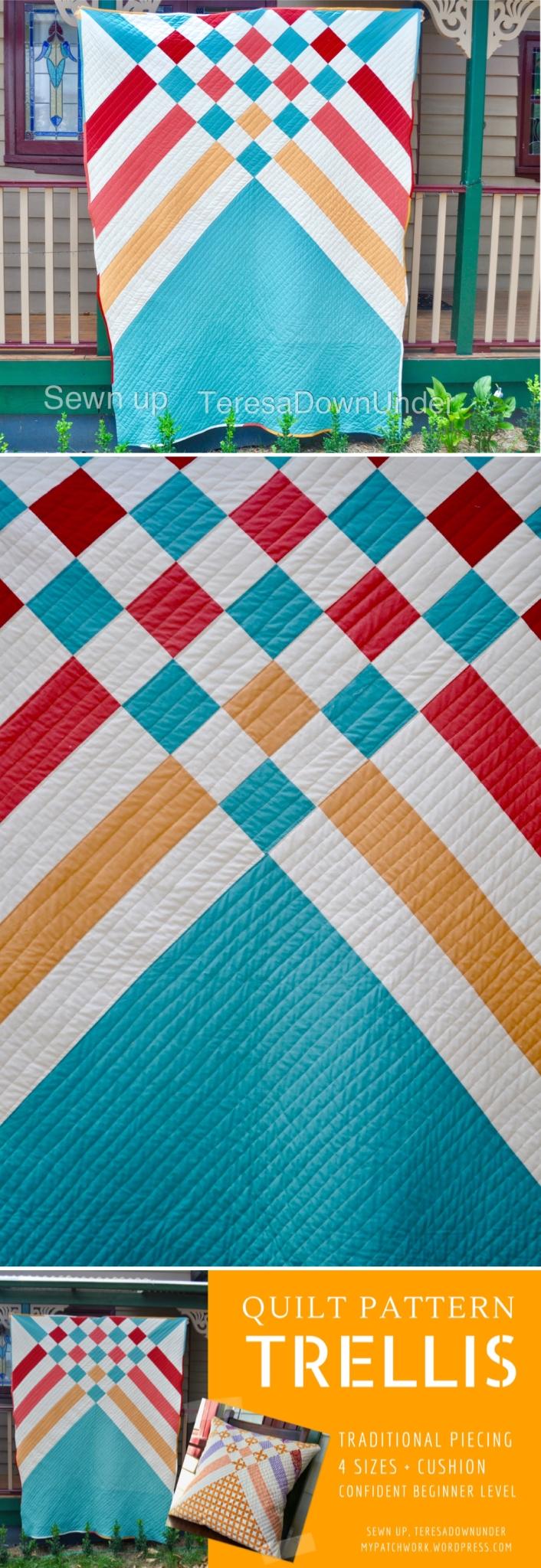 Trellis quilt pattern, modern beginner quilt in 5 sizes