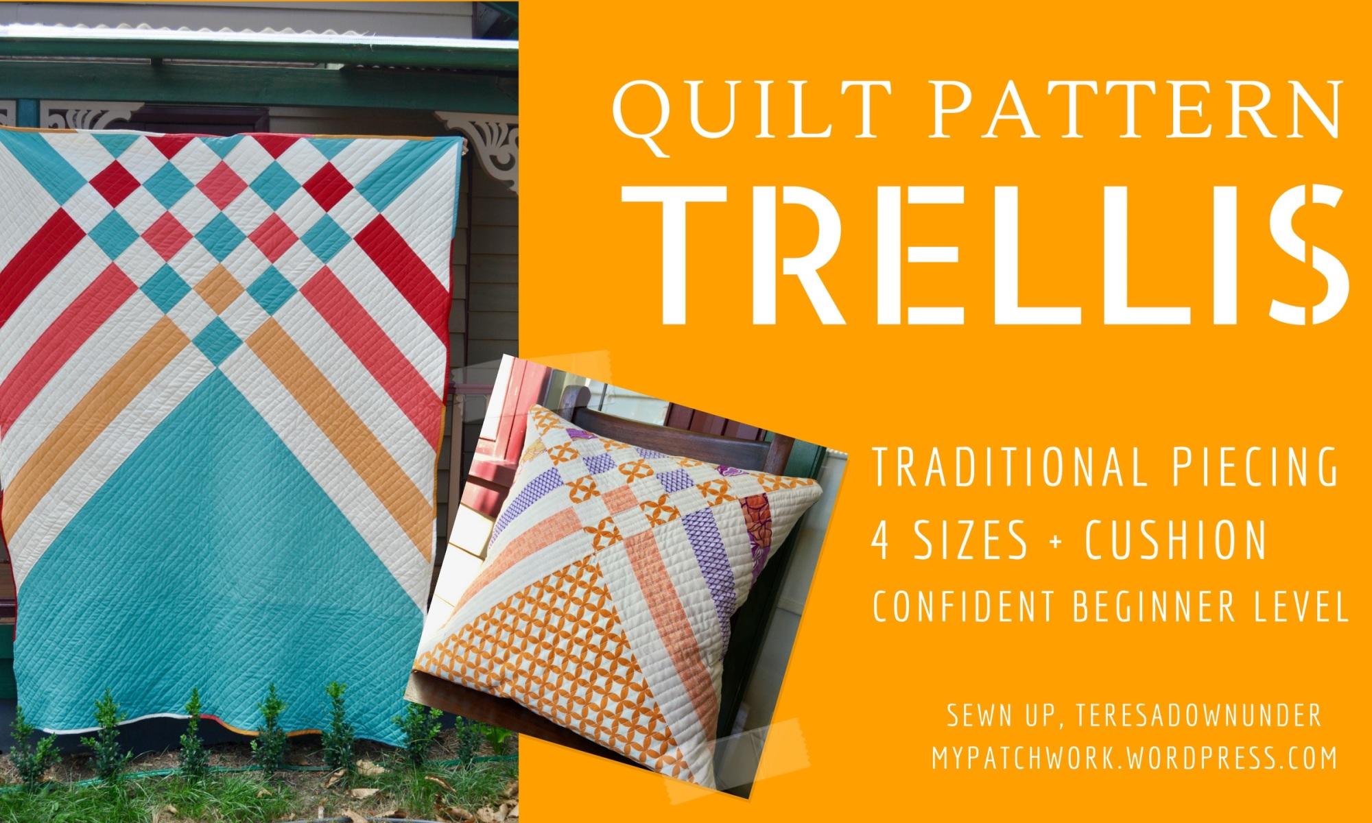 Trellis quilt pattern - 5 sizes - beginner modern pattern