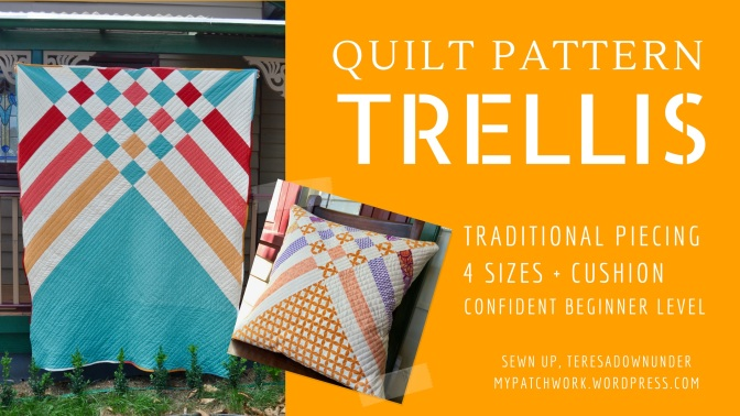 Trellis quilt pattern - 5 sizes - beginner modern pattern