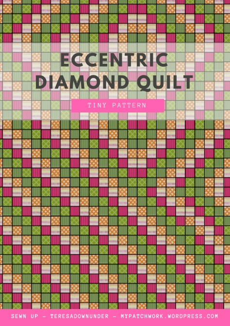 Eccentric Diamond Quilt: tiny pattern download - fabric needs, cutting directions and quilt diagram