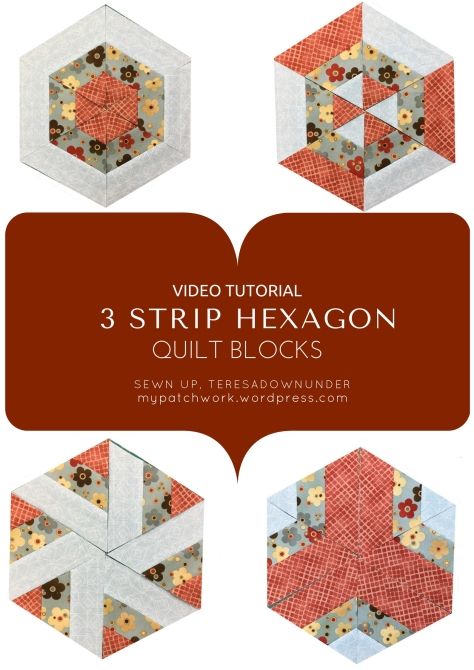 Video tutorial:3 strip hexagon quilt blocks
