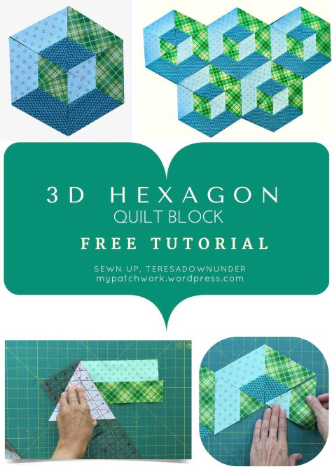 2 minute video tutorial: 3D hexagon quilt block