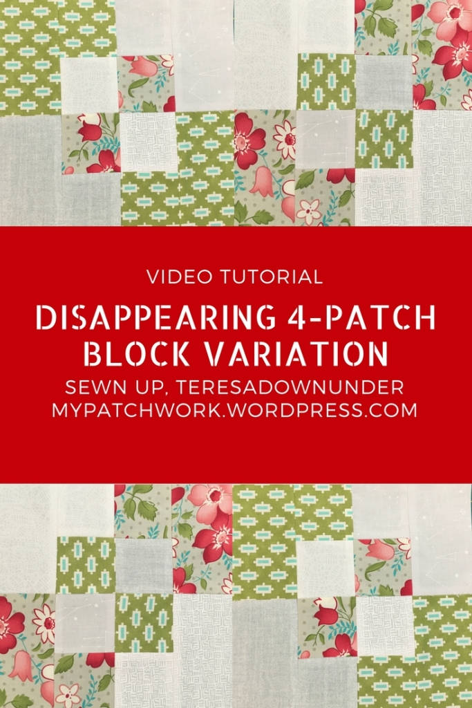 2 minute video tutorial: Disappearing 4-patch block variation - quick and easy quilting