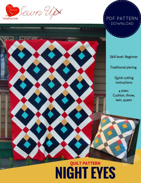 Quilt pattern: Night eyes - quilt pattern for beginners - quick cutting instructions