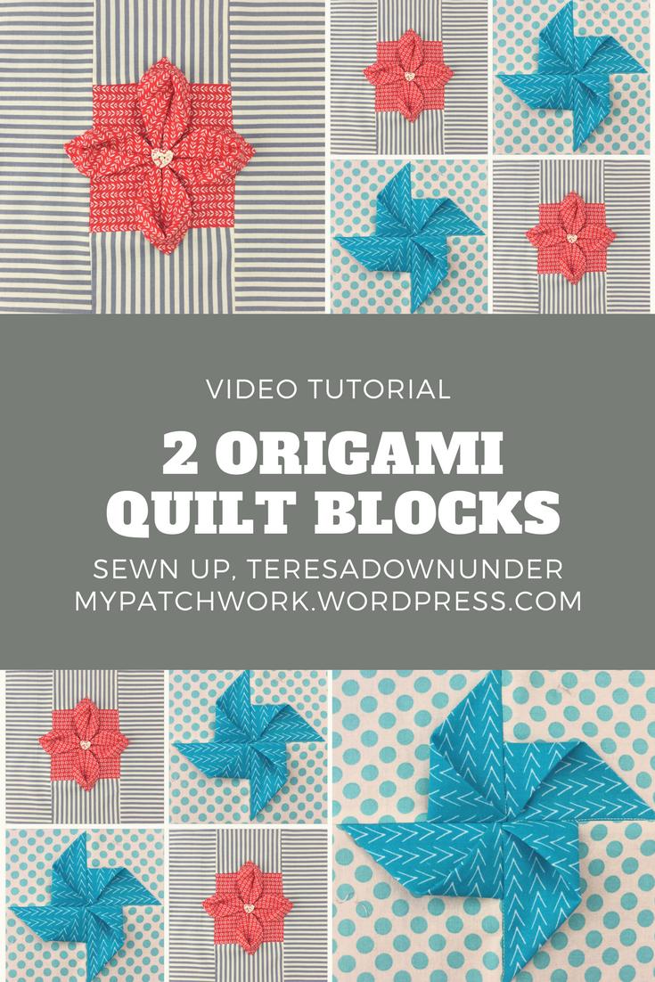 Origami flower sewn up video tutorial 2 origami quilt blocks mightylinksfo
