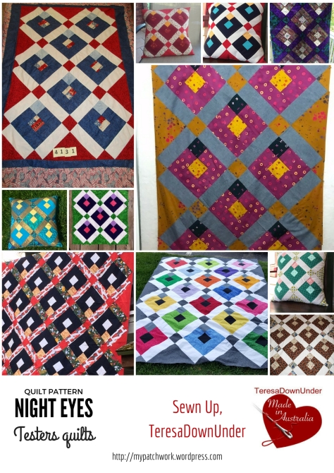 Quilt pattern: Night eyes - testers quilts