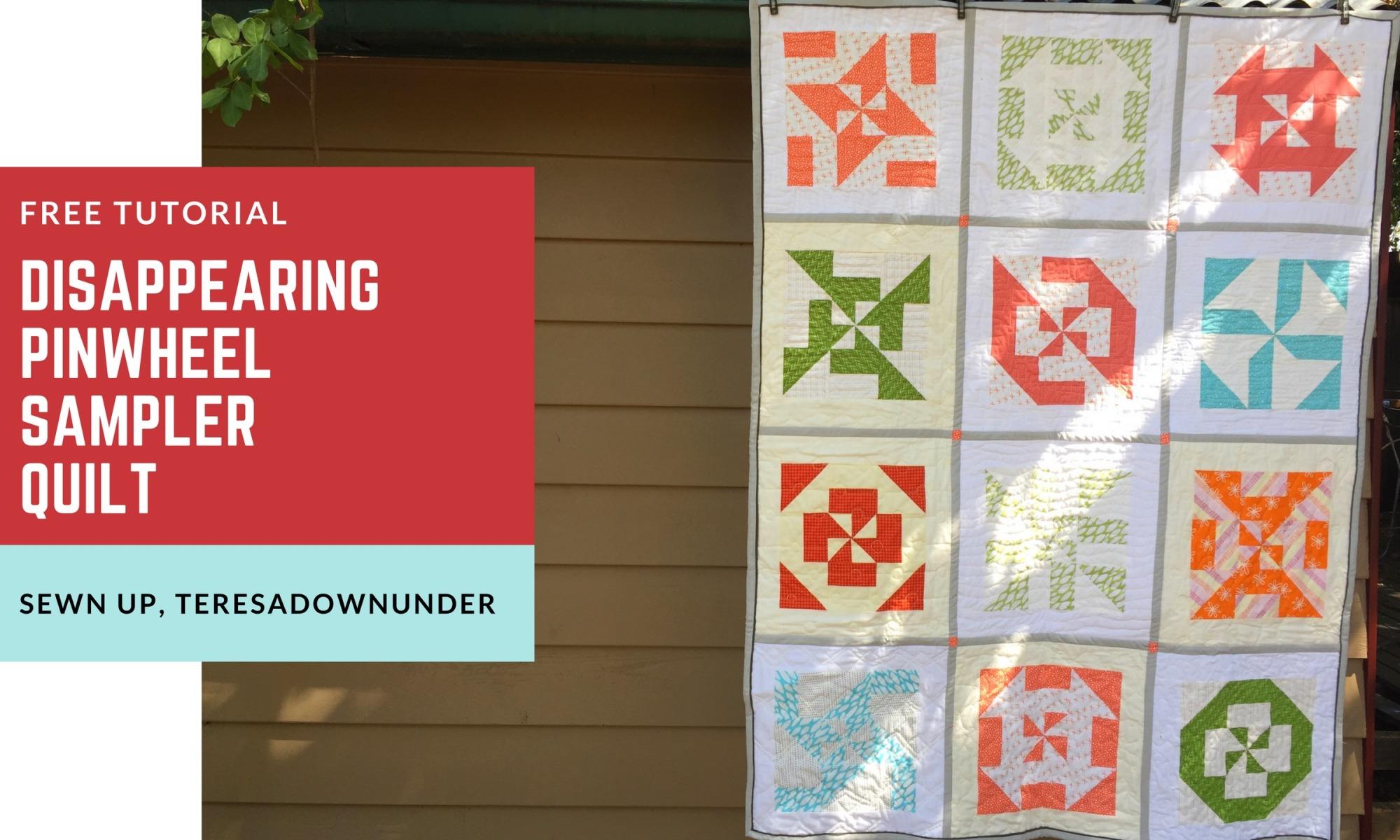 Free tutorial: Disappearing pinwheel sampler quilt