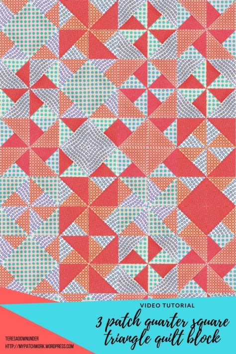 2 Minute Video Tutorial 3 Quarter Square Triangles Quilt Block