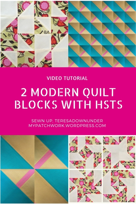 Video tutorial: 2 modern quilt blocks with HSTs