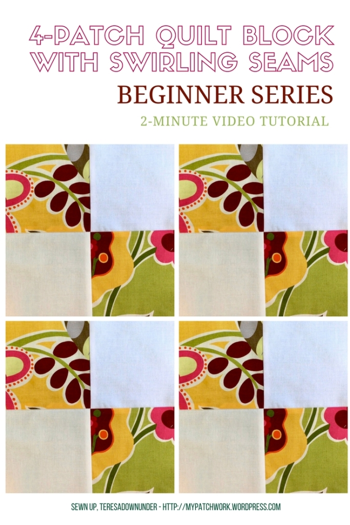 Video tutorial: 4-patch quilt block with swirling seams
