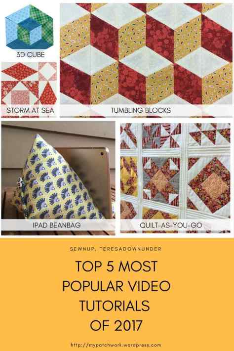 5 most popular video tutorials of 2017 - Sewn Up, TeresaDownUnder