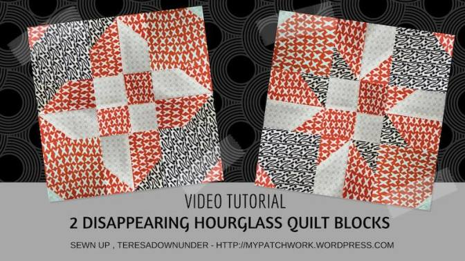 Two disappearing hourglass quilt blocks – video tutorial