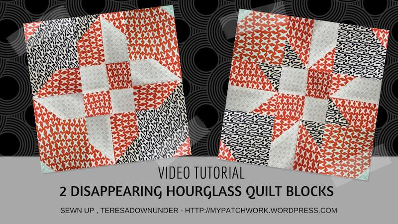 2 disappearing hourglass quilt blocks - video tutorial